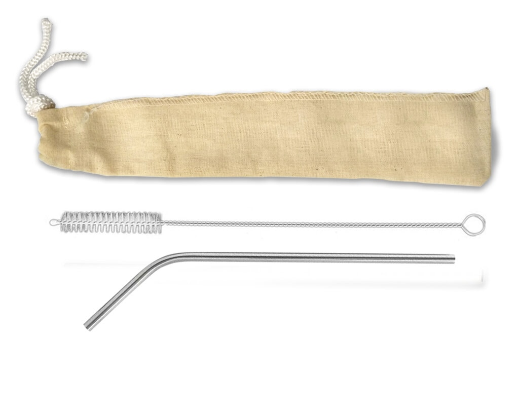 Canudo de Inox com curva + Escovinha