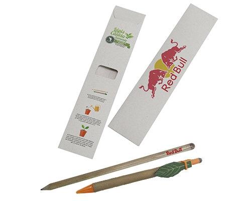 Kit Lápis e caneta semente com clips personalizado