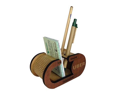 Porta Cartão com Lápis e Caneta