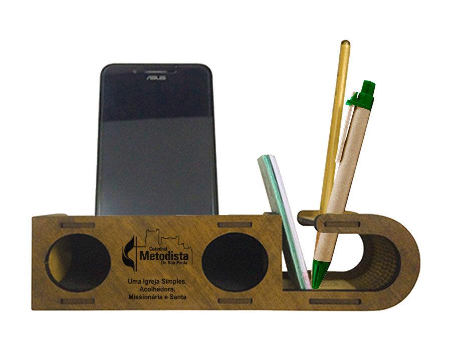 Speaker com Porta Cartão, Lápis e Caneta