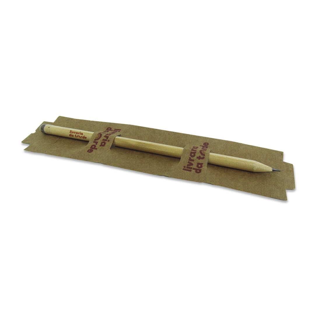 Lápis semente com tag de mesa