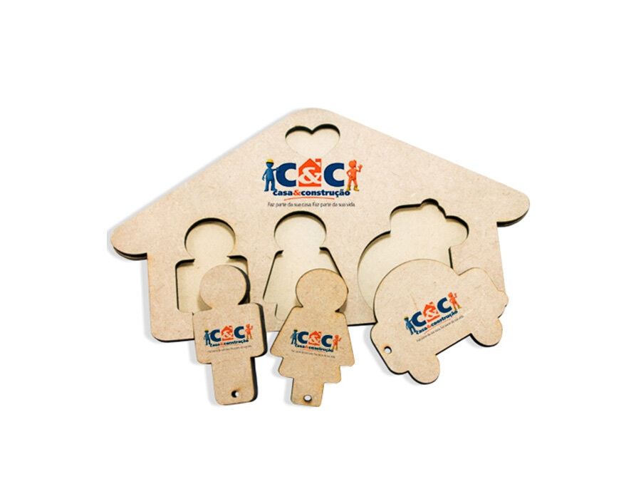 Chaveiro MDF para 3 chaves