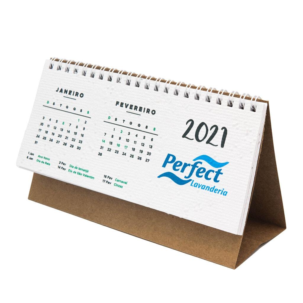 Calendário de mesa papel semente