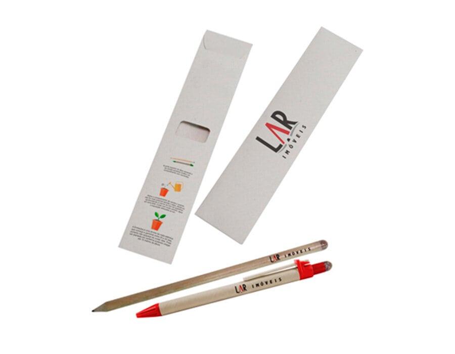 Kit Lápis e caneta semente no envelope