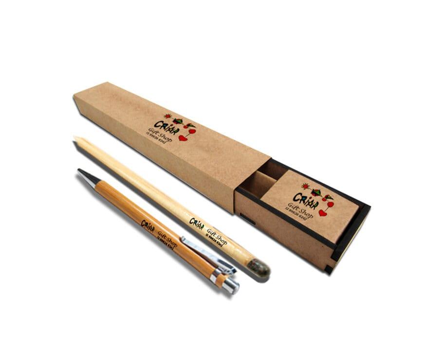 Conjunto de lápis semente com caneta bambu